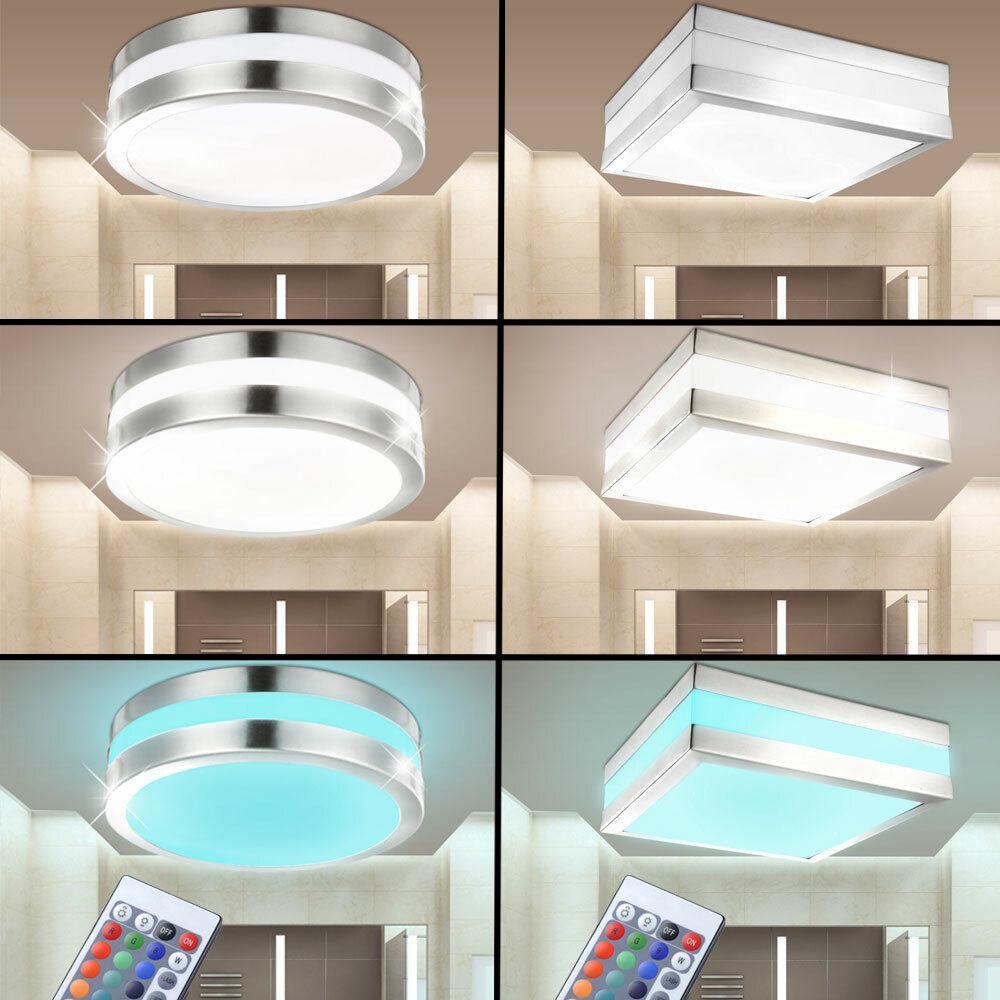 LED RGB Innen- Außen Edelstahl Decken Lampe FERNBEDIENUNG Garten Bad Büro IP44