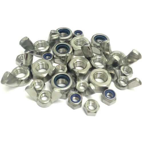 /'T Type/' Nylocs Wing M3 M4 M5 M6 M8 M10 M12 M16 Hex Full Nuts A2 Stainless