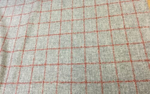 Grey//Rustic Copper Red Pure Wool Tweed Fabric.UK Woven for Upholstery//Curtains