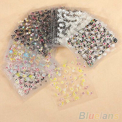 Hot Sale 10 Sheet Flower Nail Art Water Transfer Stickers 3D Manicure Tips Decal
