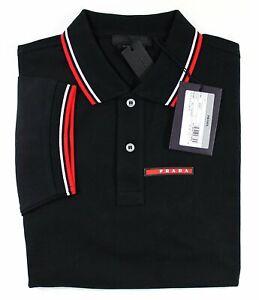 PRADA-Men-039-s-Polo-Shirt-100-Cotton-Black-Short-Sleeve-New-For-Men