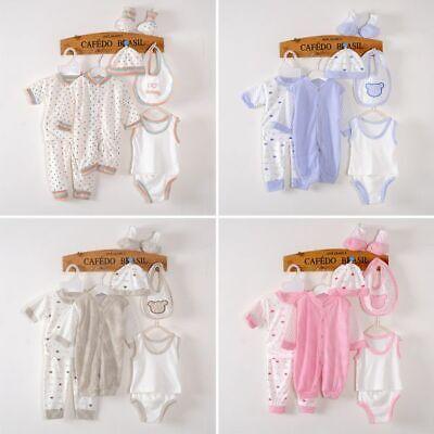 5Pcs Kids Unisex Baby Clothes Romper Bodysuit Outfits Tops+Pants+Bib+Hats Set UK