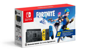 Nintendo-Switch-Fortnite-Wildcat-Bundle-Yellow-Blue-JoyCons-Japan-Import-Edition