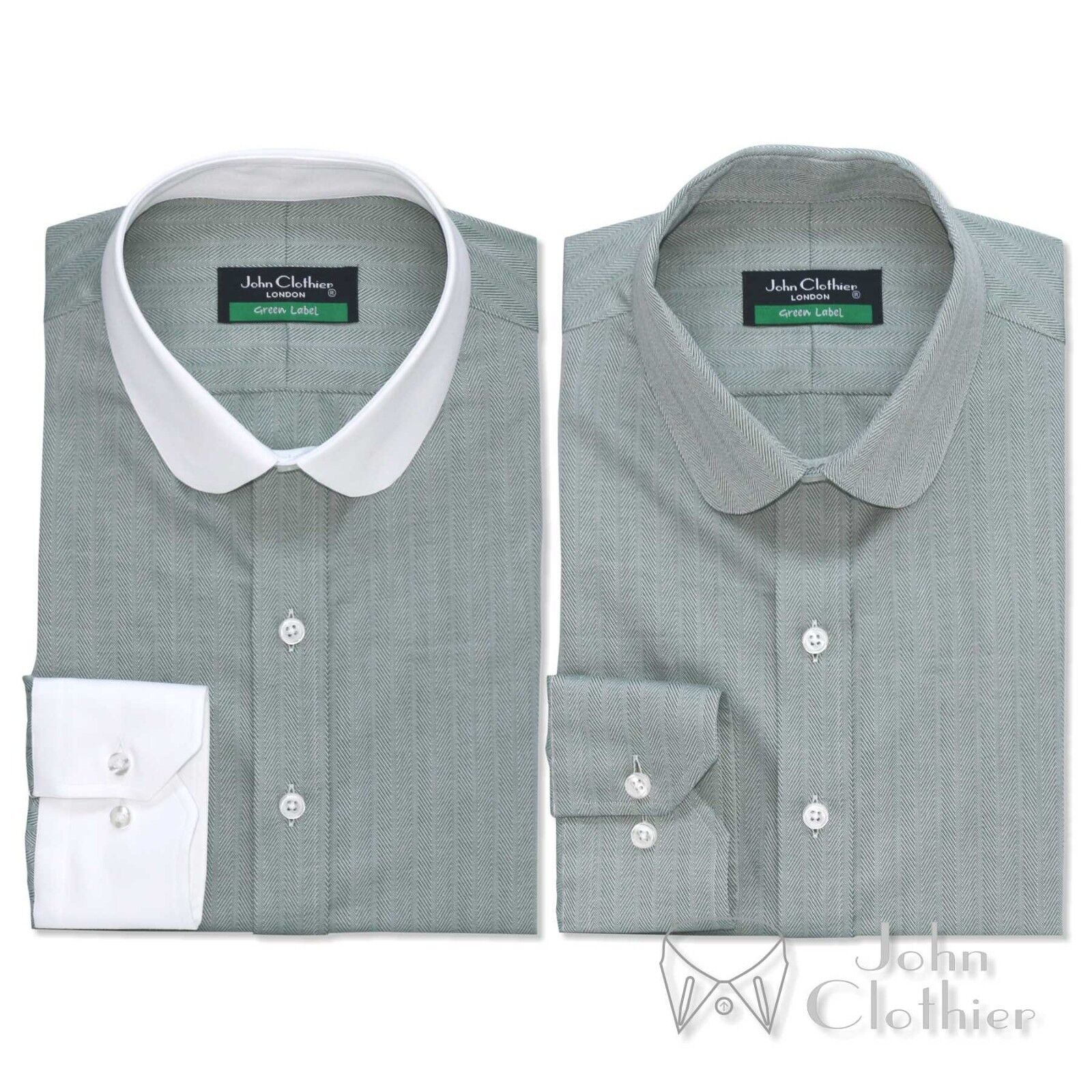 Penny collar Cotton Men shirt Grün Herringbone Bankers Weiß Club Round Gents