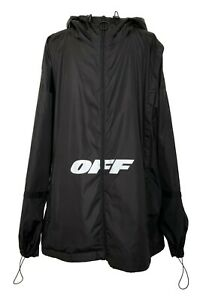 NEW-OFF-WHITE-MEN-039-S-BLACK-NYLON-OVERSIZED-WINDBREAKER-JACKET-S-1550