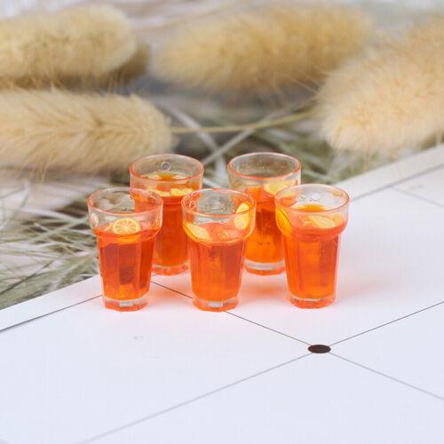 5Pcs 1:12 Dollhouse Miniature Food Lemon Tea Cups Doll House Drinks Model ToyKTP