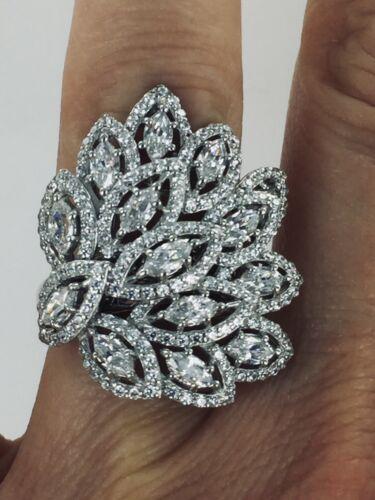 Magnifique plume de paon design Zircone Cubique Déclaration 925 Silver Ring Taille 7
