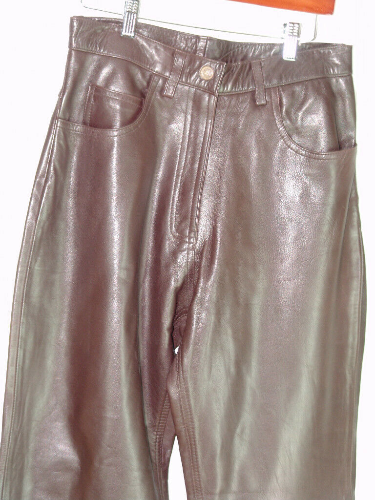 ECHTES LEDER  WAIST 31  WOMENS  BIKER BROWN  COW LEATHER PANTS