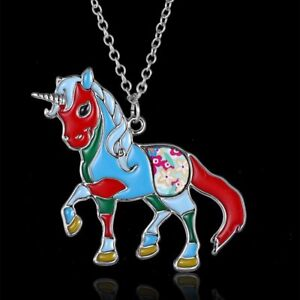 Charm Animal Horse Printing Pattern Pendant Necklace Women Sweater Chain Jewelry
