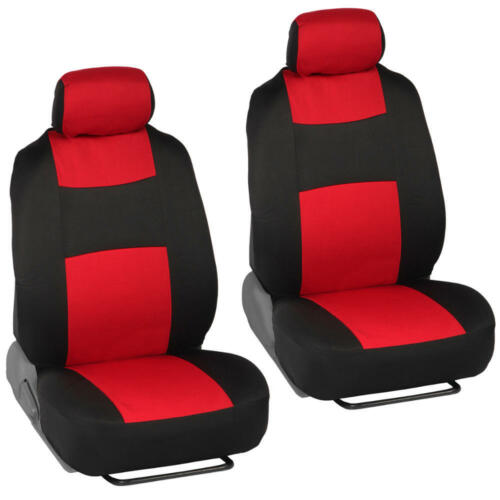 Red Car Seat Covers Set Split Bench Option 5 Headrests w// Steering Wheel Cover