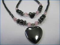 Schmuck-Set 2-tlg. Hämatit mit Magnetsteinen Halskette mit Armband Mod. Herz