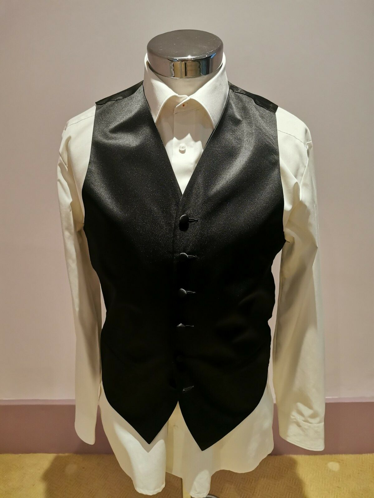 Carlo Bruno Men's Black Single Breasted Waistcoat Medium