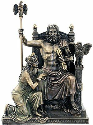 "11"" Statue of Zeus & Hera at the Throne Greek Mythology Figure Sculpture"