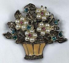 Basket of Flowers Brooch Pin Faux Pearls Rhinestones Enamel 1.75 by 2 Inches