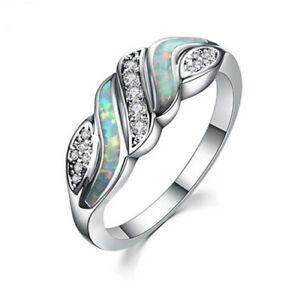 Fashion woman 925 Silver Blue Fire Opal CZ Crystal Wedding Ring Size 6 7 8 9 10