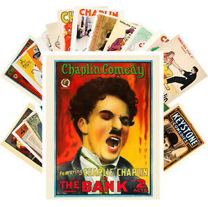 Postcards-Pack-24-cards-CHARLIE-CHAPLIN-Vintage-Movie-Posters-CC1355