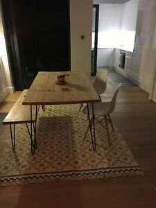 Image Is Loading Hairpin Leg Pine Dining Table And Bench