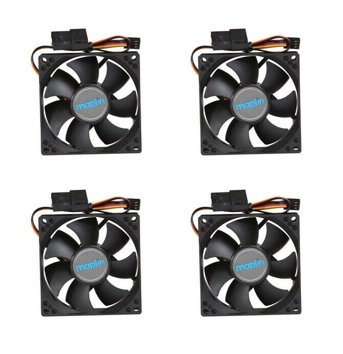 4 x 92mm Black PC Case Fans 3/4-Pin Connector 1800RPM 22.5dB Low Noise 9CM 90mm