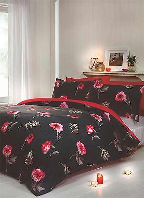Bettwäsche Blume Blumen Blätter Cross-hatched Rot Schwarz Doppelbett Bettwäsche