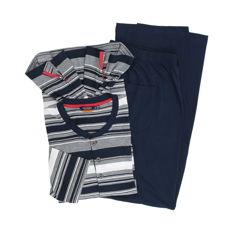 Herren Schlafanzug (lang) marineblau gestreift von CECEBA in Übergrößen bis 7XL