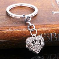 Mom  Family Hot Rhinestone Crystal Heart Pendant Keyrings Keychain Key Chain