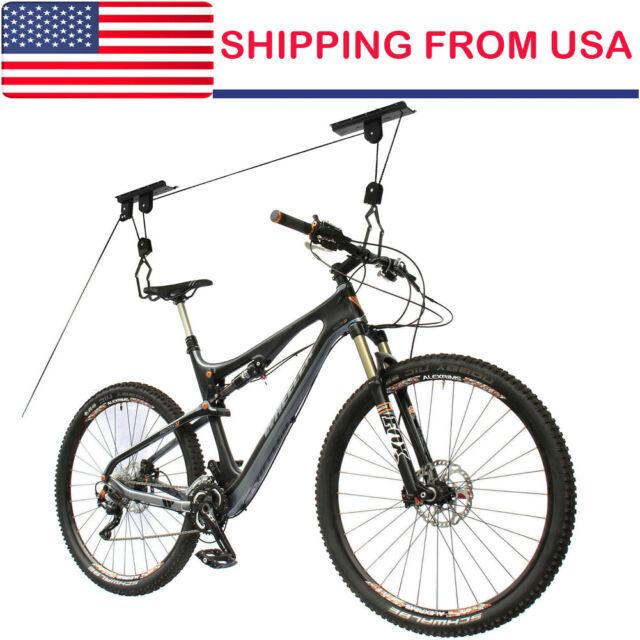 Bike Bicycle Hanger Pulley Rack Hoist Storage Garage Lift Ceiling Mounted US