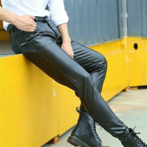 Mens Faux Leather Pants Black Pu Leggings Stretch Wet Look Trousers Slim Fit