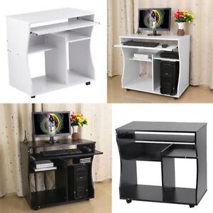 computertisch pc schreibtisch arbeitstisch b rotisch tisch mit rollen 2 farben ebay. Black Bedroom Furniture Sets. Home Design Ideas
