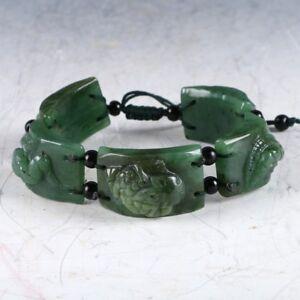 100-Natural-Green-Jade-Hand-Carved-Fashion-Bracelet