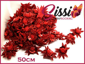 Super Lot 50 60 Cm Magnifique Ruban Sequin Perles Fleurs Rouge Monte