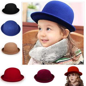 Details about Baby Kids Children Boys Girl s Wool Trendy Round Top Bowler  Derby Hat Autumn Cap df2d31688e5