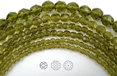 """16"""" strand green Czech Fire Polished Round Faceted Glass Beads in Olivine color"""