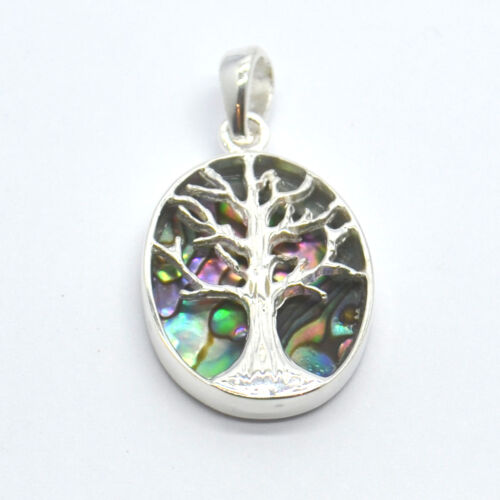 147AB Tree of Life Natural Abalone Sterling Silver Pendant