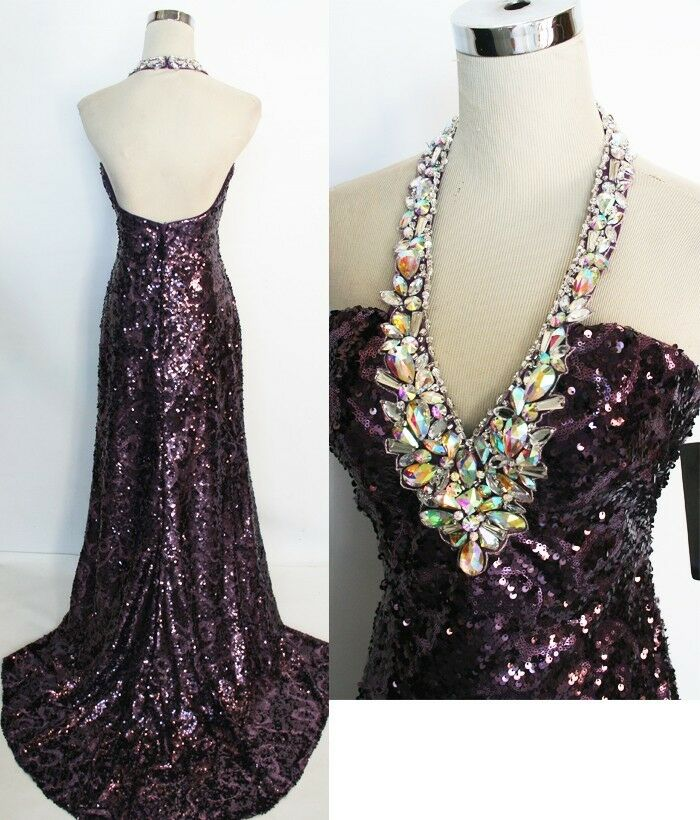 NWT NIGHT MOVES  Purple Pageant Formal Prom Gown 0