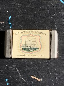 VINTAGE-CELLULOID-ADVERTISING-MATCH-SAFE-THE-IRONSIDES-COMPANY-RARE-ANTIQUE