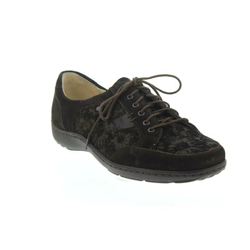 Waldlaufer 496023 Henni braun Leather Wide Fitting Floral Design Lace-up schuhe