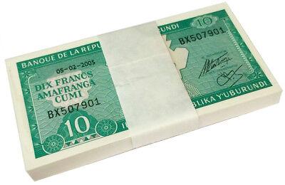 20 NOTES BURUNDI 20 FRANCS 2005 P 27 UNC LOT BUNDLE OF 20 PCS