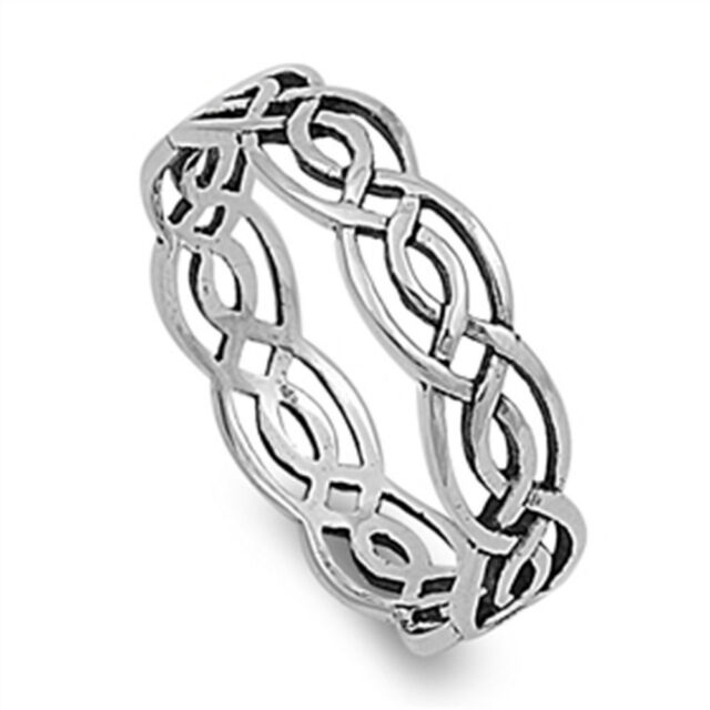 CELTIC BRAIDED ETERNITY BAND .925 Sterling Silver Ring Sizes 3-14