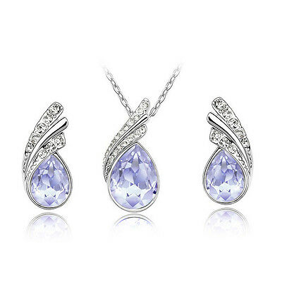 Fashion Women Crystal Rhinestone Chain Pendant Necklace Earring Jewelry Set New