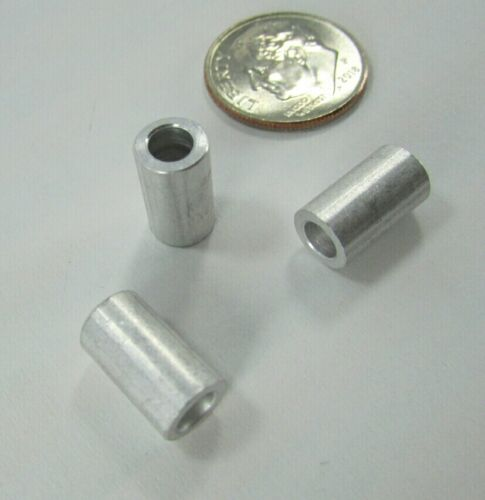 """100 Round Solid Aluminum Spacers 7//16/"""" Long 1//4/"""" OD x .150/"""" ID Standoffs Tubes"""