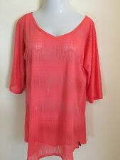 New O'Neill Women's Swim Cover Up Size M/L 3/4 Sleeve Coral NWT