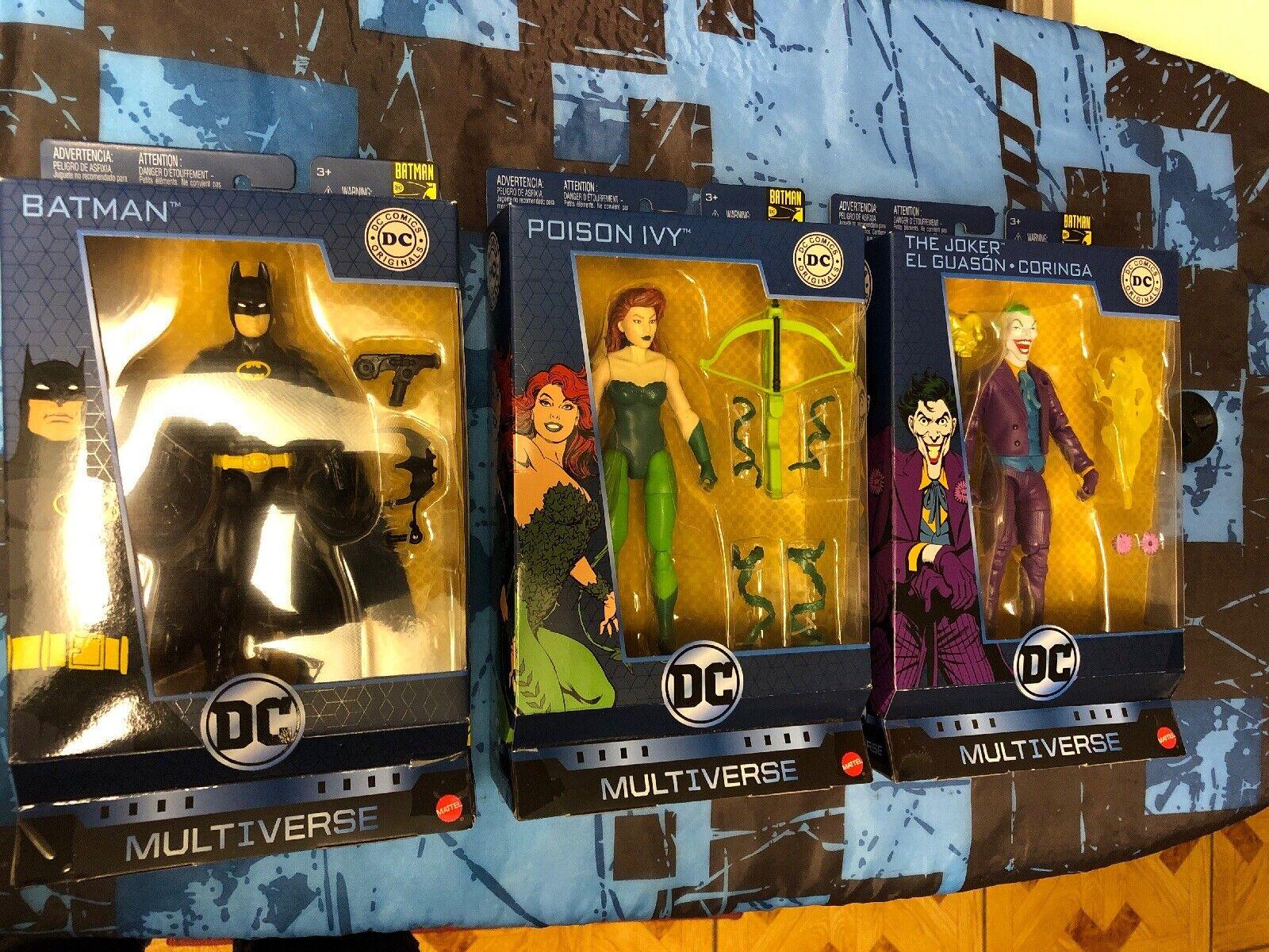 DC Multiverse Originals 80th Batman Joker Poison Ivy Set Of 3 Figures New Mattel
