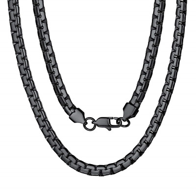 """6mm Stainless Steel Polished Black Wheat Chain Link Punk Mens Biker Necklace 24/"""""""