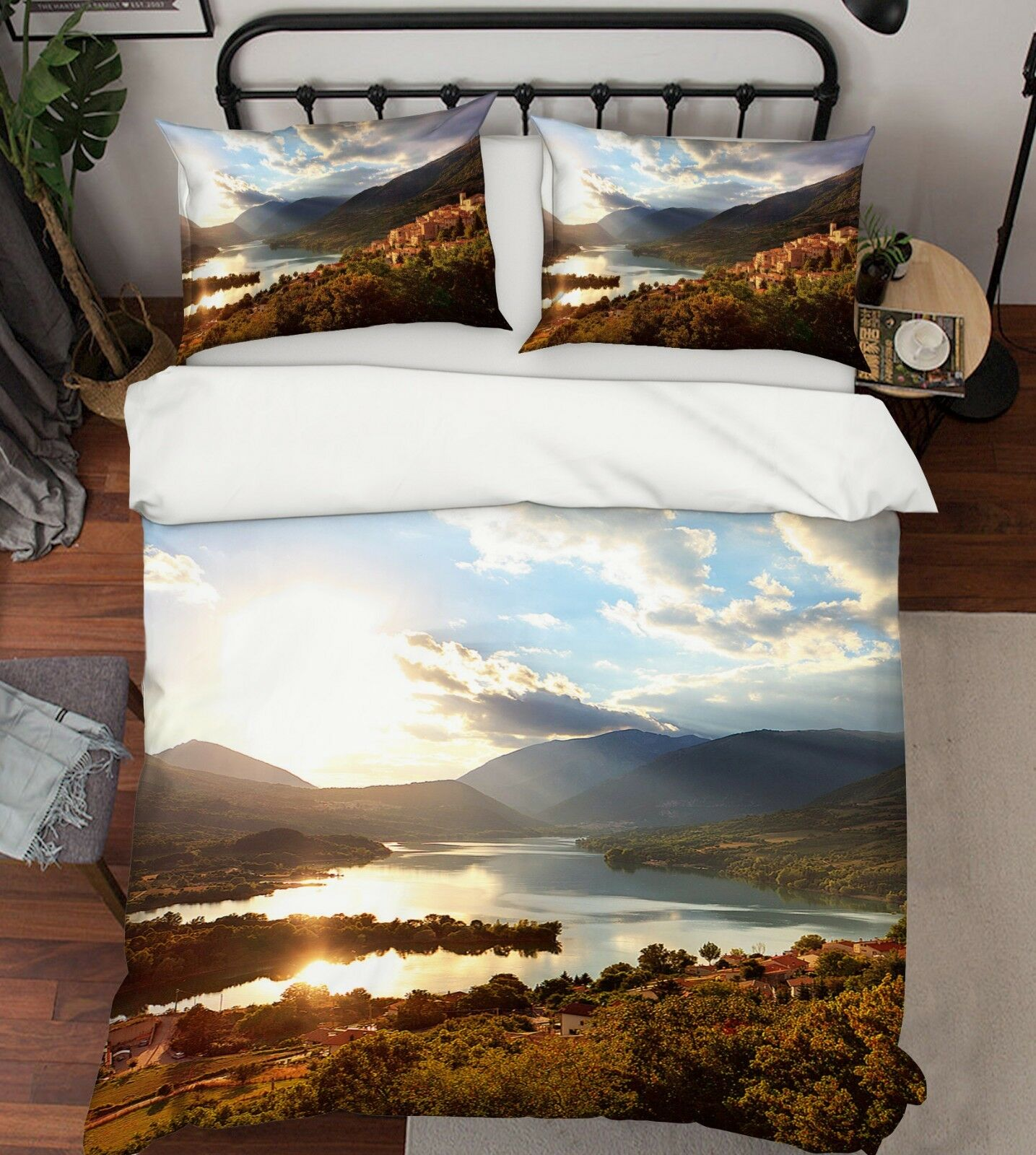 3D Sun Mountain River 2 Bed Pillowcases Quilt Duvet Cover Set Single Queen King