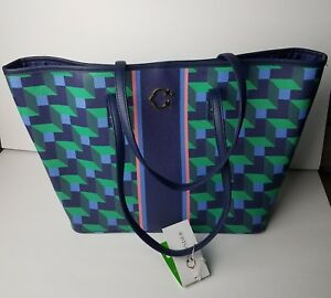 Details About 128 C Wonder Large Tote Handbag Nordic Building Block Stripe Print Blue Cw0004