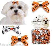 100pc Halloween Midnight Magic Hair Bows Dog Satin Ribbon W/elastic Pet Grooming
