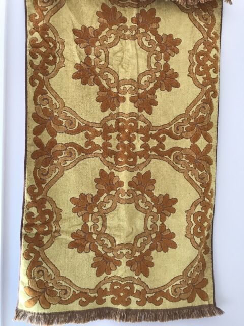 PAIR! vtg Retro Mid Century Bath Beach TOWELS 60s Brown Gold Fringed 100% cotton