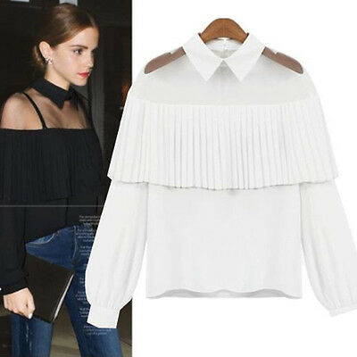 Women Lady Elegant Solid Doll Collar Gauze Pleated Chiffon Pullover Blouses Tops