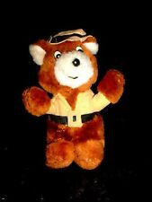 Vtg-Rare-1980s 1987 Ace Brown toy Teddy Bear-hat jacket-Plush Fur Stuffed animal