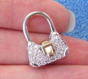 30-Diamond-14k-White-amp-Yellow-Gold-Purse-Charm-Enhancer-Pendant-No-Chain